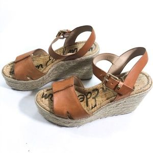 Sam Edelman Maura Leather Wedge Espadrilles 8.8